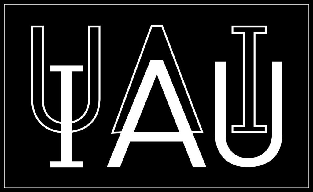 This is the official IAU logo to be used on dark backgrounds.